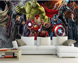 Wholesale House Living - Avengers Photo wallpaper Custom 3D wallpaper for walls Hulk Iron man Captain America Wall mural Boys Bedroom Living room Restaurant Designer