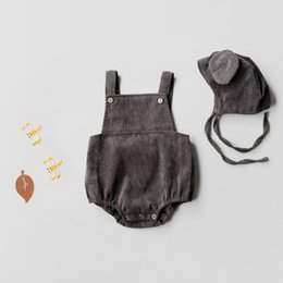 Wholesale Suspenders Hat - Everweekend Baby Girls Gray Color Suspender Rompers Vintage Infant Toddlers Autum Winter with Hat Rompers Clothing
