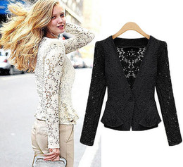 Wholesale Womens Long Length Coats - European and American Womens Coat Clothing Nice Autumn Fashion Long-Sleeved Lace Hollow Out Cardigan Ladies Jacket Short Coats for Women