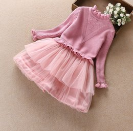 Wholesale Baby Warmer Tutus - kids girl boutiques Baby girls cashmere sweater tutu skirts children winter warm fashion dress clothes top quality