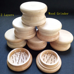 Wholesale Smoking Crusher - Wood Tobacco Grinder wooden spice herb handle grinder crusher 53mm 2 parts for smoking rolling machine smoking pipe supplyer