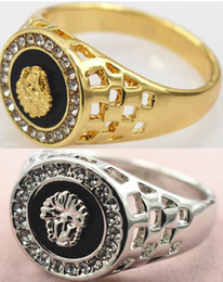 Wholesale Lion Head Rings For Men - Exquisite Rhinestones Lion head 18K Gold Plated Gold Silver 2 colors Men's Ring High Quality Fashion superman rings for men