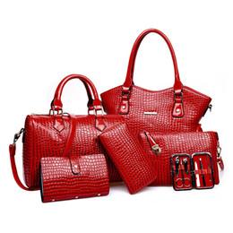 7ae520989ea6 Wholesale-6 pieces set 2016 High capacity Top-Handle Bag famous brand women  shoulder bag Alligator grain Handbag+Crossbody Bag+rse+Wallet