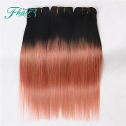 Wholesale Rose Extensions - 8A Ombre Hair Extensions 1B Rose Gold Ombre Human Hair 3Pcs 100g Pcs Two Tone Straight Hair Weave Brazilian Hair