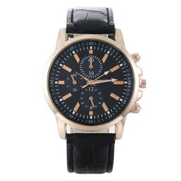 Wholesale Fake Tags - Promotion Business Men's 2017 New Trend Romance Engraved Mens Fake Three Eye Six Pin Leather Wrist Watch Watches for Women