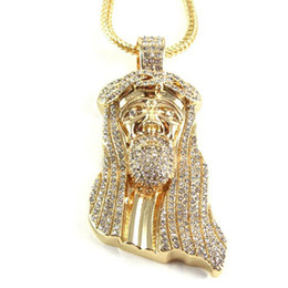 "Wholesale Hip Hop Jesus Pendant - 2016 New Iced Out JESUS Face Pendants with 32"" Franco Rope Chain HipHop Style Necklace Gold silver Plating Hip hop jewelry Necklace"