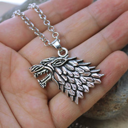 Wholesale Antique Sterling Silver Necklaces - New arrival Game of Thrones Necklace Pendant House of Stark antique silver Wolf Alloy Pendant Necklace Sweater Chain Gift
