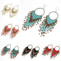Seme di stile online-Perline semi di stile della Boemia Cerchio nappa goccia ciondola gli orecchini con gancio personalità Charms gioielli delle donne
