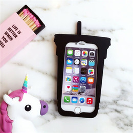 Wholesale Case Iphone Drink - I7 I6 6S 3D Cute Colorful Cold Drink Cover For iPhone 7 7plus 6 6plus Ice in Cup Silicone Rubber Stylish Phone Case