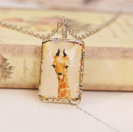 Wholesale Double Sided Sweater - Giraffe Long Sweater Chain Double Sided Square Hand Drawing Deer Chain Yellow Deer Giraffe Pendant Necklaces DHL