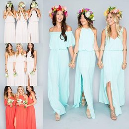 Wholesale Mint Color Long Sleeve Dresses - 2018 Cheap Bohemian Bridesmaid Dresses Wedding Guest Wear V Neck Mint Green Chiffon Split Long Party Beach Plus Size Maid of Honor Gowns