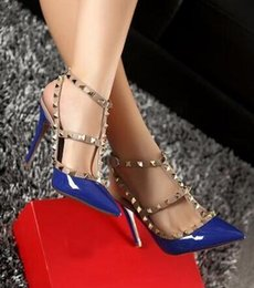 Wholesale Stiletto Heel Size 44 - 2018 Brand Women Pumps Wedding Shoes Woman High Heels Nude Fashion Ankle Straps Rivets Shoes Sexy High Heels Bridal Shoes Size 34-44