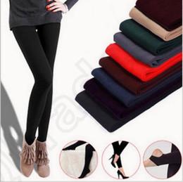 Wholesale Super Slimming Leggings - Women Fleece Leggings Thicken Winter Super Elastic Soild Color Slim Leggings Casual Faux Velvet ankle-length Legging Knitted OOA866