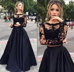 Wholesale Two Piece Lace Top Prom Dress - Two Piece Prom Dresses Black Lace Crop Top Illusion Long Sleeve Evening Dresses Factory Custom Made