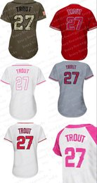 Wholesale Womens Red Shirts - Womens #27 Mike Trout Baseball Jerseys Ladies Shirt Cool Base White Red Grey Pink Fashio Green Stitched