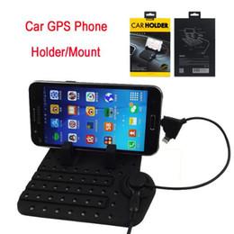 2019 usb-autohalterung Silikon rutschfeste auto gps telefon tablet stehen / halter / montieren universal einstellbar micro port usb 2 in 1 stecker für iphone dhl frei OTH239 günstig usb-autohalterung