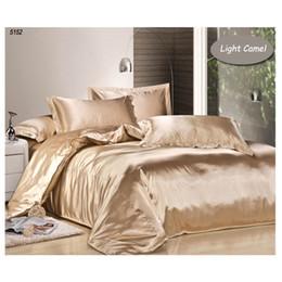 Wholesale Light Pink Comforters - light camel color silk bedding set tencel linens satin bedclothes silk duvet cover bedsheet 3pcs twin 4pcs king queen bedset 5152.