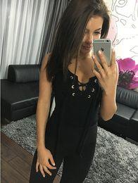 Wholesale Led Jumpsuits - 2016 Summer Fashion V Lead Chalaza Sexy Close Thread Swimming Suit Jumpsuit Plus Size Bodysuit Women Mini Short Amp Rompers