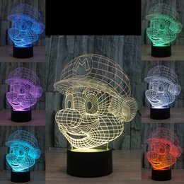Wholesale Mario Wedding - 3D Super Mario Optical Night Lamp 10 LEDs RGB Lights DC 5V USB Powered AA Battery Bin Factory Wholesale