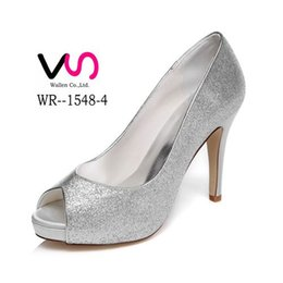 Wholesale White Sequin Prom Shoes - 10cm Heel With Platfrom Shinny Silver Wedding Shoes Evening Shoes High Heel Bridal Shoes Party Prom Women Shoes bridal shoes Party Shoes