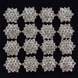 Wholesale Flat Back Buttons - Wholesale-100pcs lot Flat Back Crystal Rhinestone Button For Hair Flower Wedding Invitation,Rhinestone Applique Accessories Free Shipping