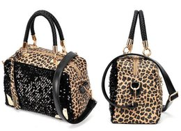 Wholesale Leopard Print Pu - Cheap Fashion Casual Women Designer Handbag PU Leather Leopard Print Paillette Sequin Shoulder Messenger Bag 2016014