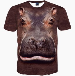 Wholesale Clothes Horse Dryer - Hippo head T shirt River horse short sleeve gown Quality leisure tees Street printing clothing Unisex cotton Tshirt
