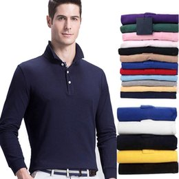 Wholesale Long Slim Polo Design - Simple design Solid Embroidery Polo Shirt Men brand knitwear clothing Turn-down collar long sleeve Slim fit polos homme plus size 2017 New