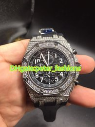 Wholesale Sapphire Royal - Royal Oak off shore Diamond watches luxury brand men's watches natural rubber strap multi-function Chronograph Watches waterproof watch