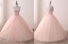 Wholesale Sequin Corset Ball Gown - 2018 V neck Blush Applique Lace With Champagne Satin Quinceanera Dress Ball Gowns Prom With Straps Beaded Corset Back Sweet 15 Girls Party