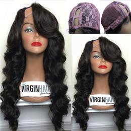 Wholesale Ladies Short Hair - 8A Body Wave U Part Human Hair Wigs 1*4 Right Part U Part wigs Virgin Hair Brazilian Upart Wig For Black Women