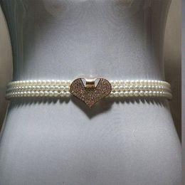 Wholesale Thin White Pearl Belt - All-match waist rhinestone pearl decoration thin belt white female fashion belly chain elastic waist belt