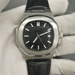 Wholesale Transparent Watches Men - 17NEW hot sale 5711 1A-010 Mens Watch Automatic Movement Stainless Men Nautilus transparent Leather Band man watches pp sky moon(Black Dial)
