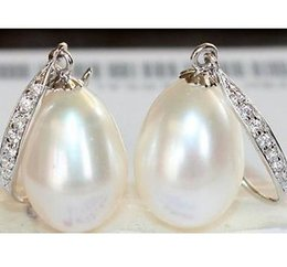 Wholesale White Baroque Pearl Earrings - Charming a pair 12-13mm south sea white baroque pearl earring 925 silver