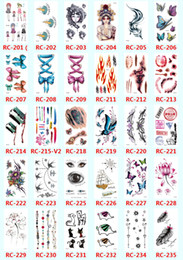 Wholesale tattoo design colorful - Hot sale Waterproof 3D Tattoo Stickers colorful Design Temporary Tattoos Foil Decal Fashion Body Art Tattoos Flash mixed wholesale
