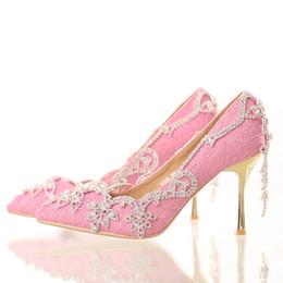 Pompe stilettine nappa strass online-Scarpe da sposa in pizzo rosa con nappine con strass a spillo Tacco alto Scarpe da sposa Scarpe da cerimonia eleganti con punta a punta in cristallo