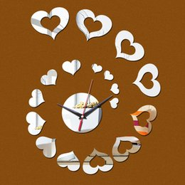 Wholesale Stick Mirror Decorations - 2016 Special Offer Sale Best-selling Mirror Wall Clock 3 D Heart Stick Modern Home Decoration Diy Fashion Clock, free Shipping TY1952