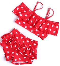 Wholesale Little Girls Bikinis - Children's swimsuit girls bikini baby girl love swimwear little girls swimsuits baby beach clothes fit 1-8 year