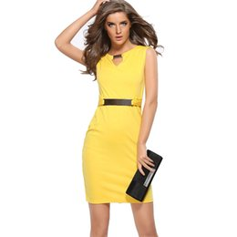 Wholesale Women Working Dresses - 2016 S-XXXL metal buckle V collar slim size temperament sleeveless dress LY701