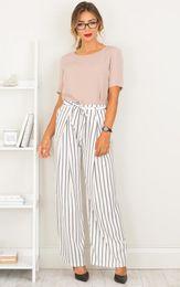 Wholesale Long Harem Pants Woman - 2017101832 New Striped OL chiffon high waist harem pants Women stringyselvedge summer style casual pants female trousers