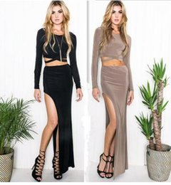 Wholesale Long Skirts Asymmetric - Bodycon Dresses 2017 long-sleeved sexy package hip skirt fashion Slim split bite two-piece skirt casual women clothing Pencil Dresses