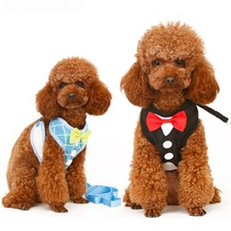 Wholesale Large Dog Bowtie - Free Shipping Cute Dog Leads Breathable Vest Harnesses Puppy Cat Collars Pets Chest Strap Leash Set With Lovely Bowtie JJ0104