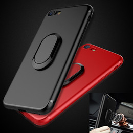 Wholesale anti ring - For iPhone 7 Plus TPU Case Car Bracket Magnetic Ring Holder Soft Frosted Anti-fingerprint BACK Cover Free Shipping