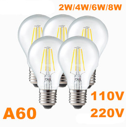 Wholesale Led Globe 6w Cool White - 110V 220V Edison filament LED bulb 2W 4W 6W 8W A60 light bulb E27 Dimming Glass Housing lamp 360 angle Warm cool white