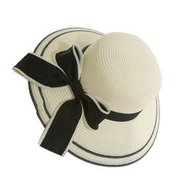 Wholesale Womens Straw Floppy Hat - Wholesale- Hot Womens Straw Hat Floppy Wide Brim Bowknot Summer Beach Sun Lady Casual Cap
