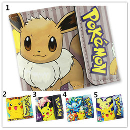 Wholesale Wallet Snap - 5styles Poke mon Short snap Wallets Pocket Monster Pikachu Ash Ketchum Eevee Sylveon Flip-open cover Wallets for kids and teen gifts free sh