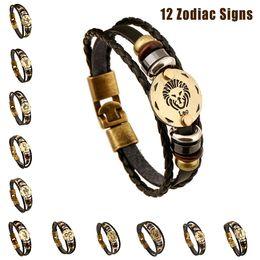 Wholesale Genuine Leather Jewelry - 12 pcs set Handmade Zodiac Signs Bracelets For Women & Men Genuine Leather Bracelet Woven Rope Wooden Bead + Black Gallstone Charm Jewelry