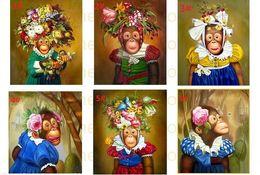 Бесплатные портретные фотографии онлайн-Бесплатная доставка, Обезьяны с цветами Чистая ручная работа Животное Портретное искусство Картина маслом на холсте, Выберите из фотографий с индивидуальным размером принято