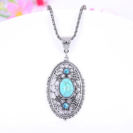 Wholesale tibetan jewelry turquoise pendant necklace - Silver plated Sale Fashion Jewelry for Women Turquoise Necklaces&Pendants for women Royal Hollow Tibetan Free Shipping