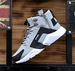 Wholesale Leather Top Table - Discount Cheap Huarache X Acronym City Mid Mens Running Shoes, 2018 Good Quality Men air Acronym High Tops Sneakers Boots Gray Black